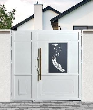 דלת שער כניסה לבית פרטי בשילוב זכוכית מודפסת